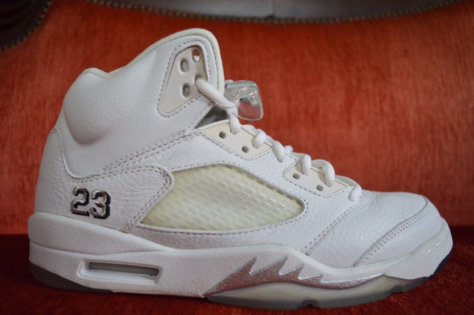 ICYY Nike Air Jordan 5 V Retro 3/4 Hi Size 9.5 White Metallic Silver 136045-101
