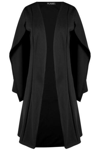 Womens Longline Midi Length Cape Ladies Shawl Collared Open Placket Blazer Coat