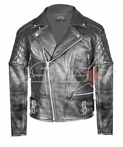 Uk Stock Mens Brando Vintage Motorcycle Real Leather