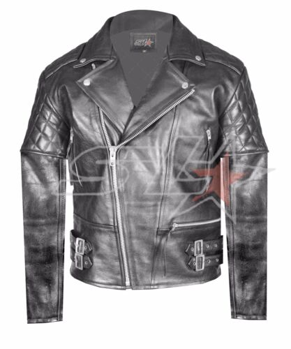 Jacket Quilted Real Vintage Biker Brando Uk Mens Stock Black Leather Motorcycle 0TqzZS
