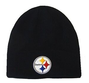 Image is loading Pittsburgh-Steelers-NFL-Apparel-Solid-Black-Cuffless-Knit- db2838f3411