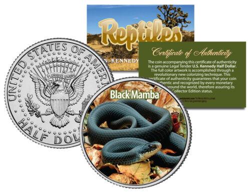 Colorized Coin SNAKE Collectible Reptiles JFK Half Dollar U.S BLACK MAMBA