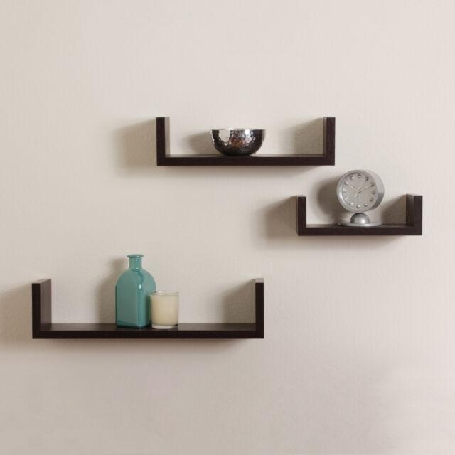 Elegant Floating Shelves U Walnut Brown Finish Set Of 3 Shelf Modern