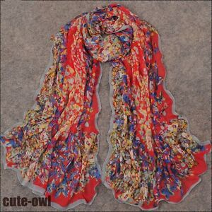 New-Women-039-s-Floral-Georgette-Oblong-Chiffon-Scarf-Shawl-Wraps-Red
