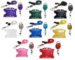 Neck-Strap-Lanyard-Metal-Clip-ID-Badge-Holder-amp-Retractable-YoYo-Reel-Set