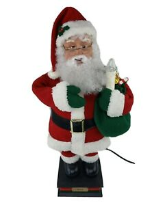 "24"" Animated Santa Holiday Creations St. Nick Head Arm Move Holding Candle Light"