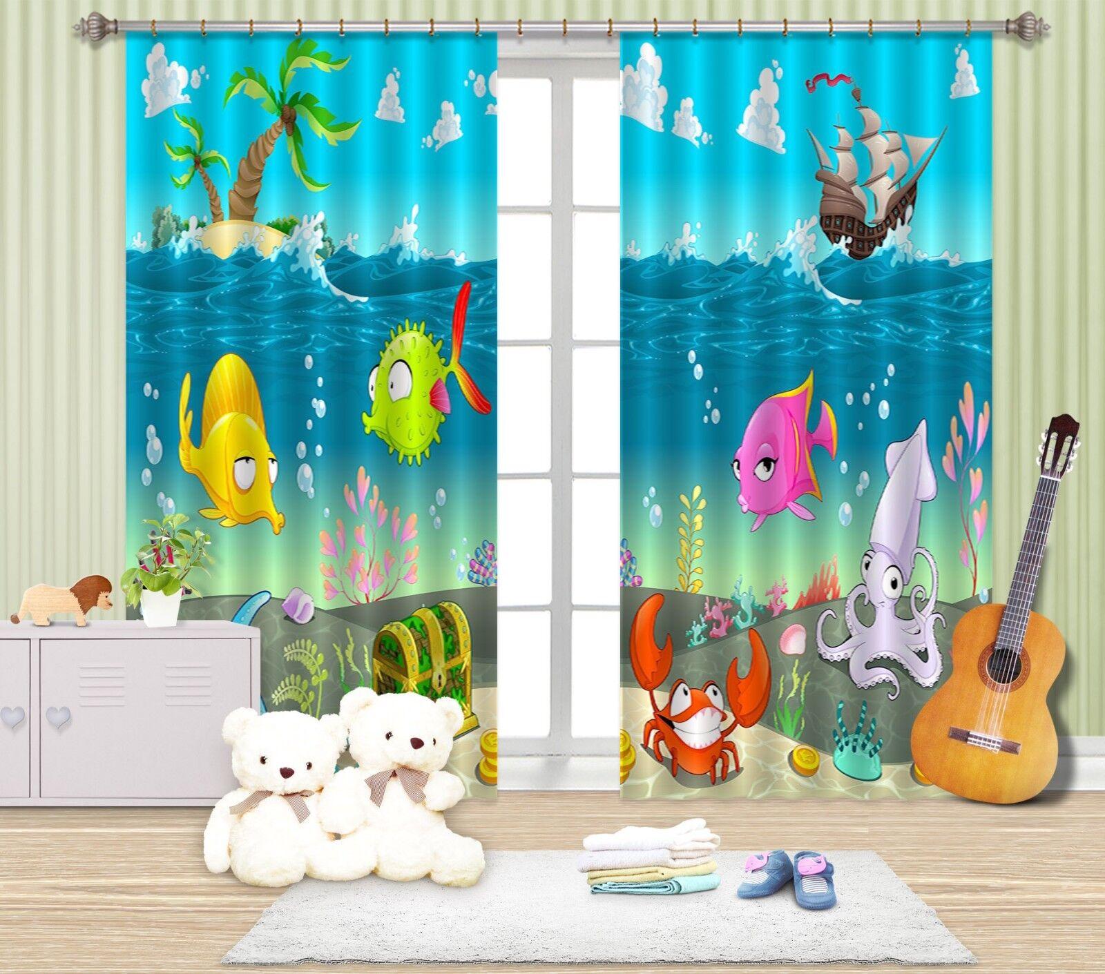 3d pesce oceano 67 blocco foto sipario pressione sipario tende tessuto finestra de