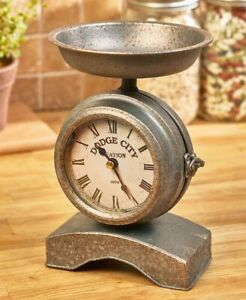 Farmhouse-Vintage-Decorative-Scale-Clock-Mantle-Kitchen-Galvanized-Metal-Table