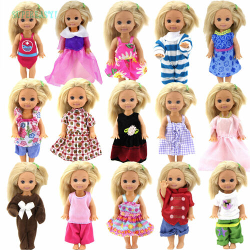 5 Set Cute Dress Jumpsuits Outfit Clothes For 4 in. Little Kelly Doll xMas Gift