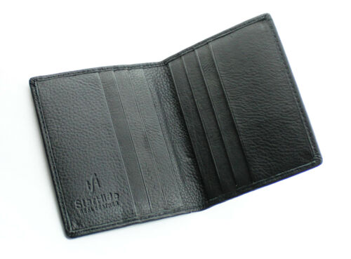 Gneuine Pelle Ultra Sottile titolare carta di credito Mini Card Caso Wallet 105-black