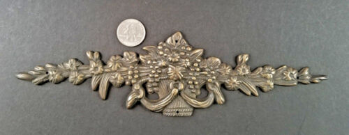 "ANTIQUE VINTAGE FRENCH BRONZE ORMOLU FURNITURE PEDIMENT DECORATION SWAG 10/""w #Z5"