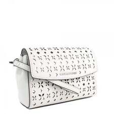 NWT Michael Kors Ava Medium White/Silver Flora Leather Wristlet Clutch Bag