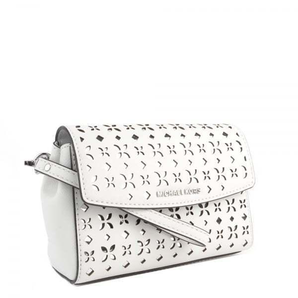 8679078e47c26a NWT Michael Kors Ava Medium White/Silver Flora Leather Wristlet Clutch Bag