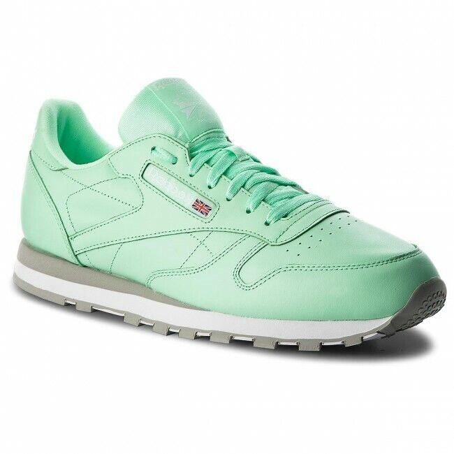Reebok Classique Cuir Bas paniers Hommes Chaussures Citron Vert Blanc CN5382 taille 9.5 neuf