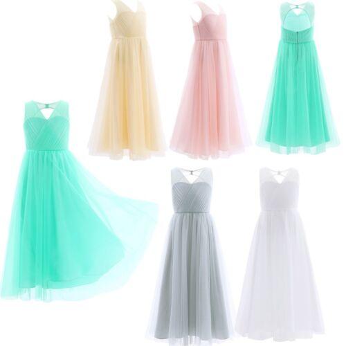 Flower Girls Dress Kid Junior Bridesmaid Wedding Party Princess Prom Long Gown