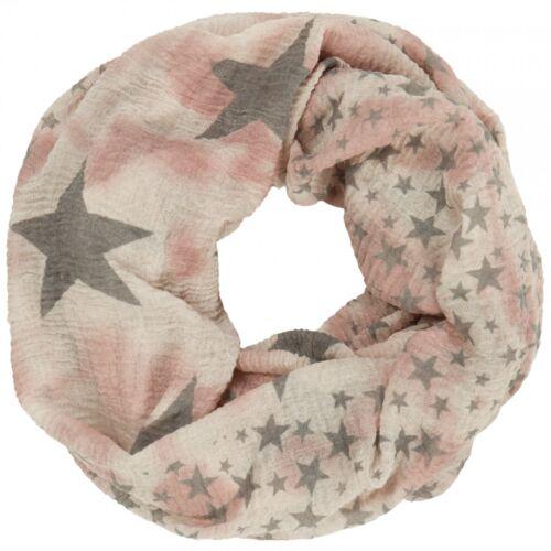 CASPAR Damen Herbst Winter Vintage LOOP Schal Schlauchschal mit Stern Print