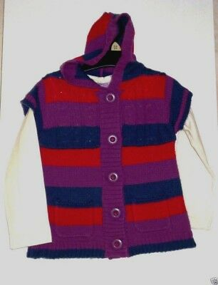 Charitable Girl's Long Sleeved T-shirt & Striped Hooded Cardigan Set Age 2-3 Years New Neither Too Hard Nor Too Soft