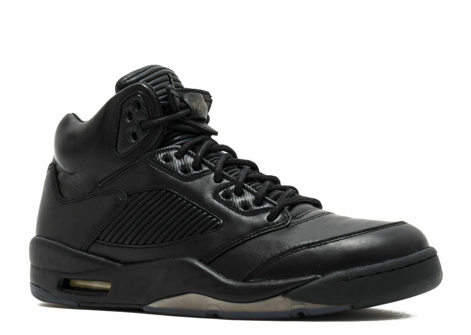 New Air Jordan 5 Retro Premium Pinnacle Triple Black Size 16 881432 010