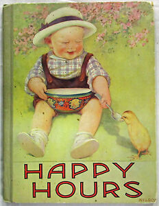 Happy-Hours-For-Little-Folks-No-Author-Stated-HC-1921-Scarce-Children-039-s-Book