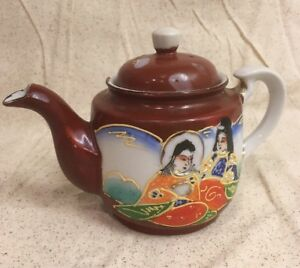 Vintage-Old-Miniature-Signed-Satsuma-Porcelain-Teapot-Repaired-Lid-As-is