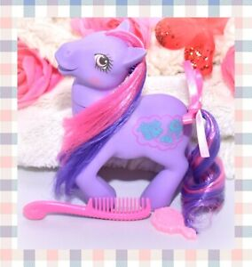 My-Little-Pony-MLP-G1-Vtg-GERMAN-Sweet-Talkin-Talk-A-Lot-Purple-WORKS-Comb