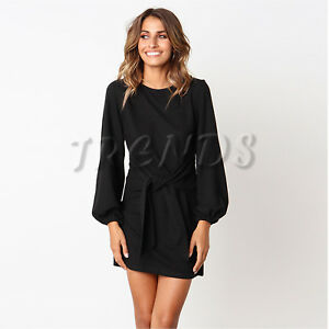 Details about UK Womens Tie Front Ladies Long Bell Sleeves Christmas Party Evening Mini Dress