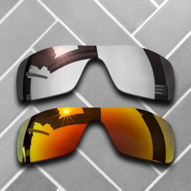 2 Packs Replacement Lenses for-Oakley Batwolf Polarized-Chrome&Fire Red
