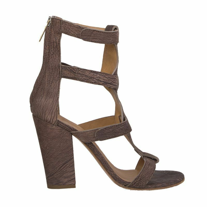 54226 auth CHLOE marron leather BLOCK-HEEL Gladiator Sandals chaussures 40