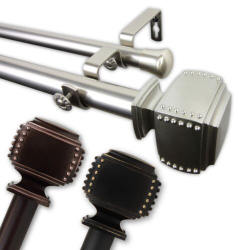 """Bane Double Curtain Rod 1/"""" OD #10-27 choose from 3 colors and 5 sizes"""
