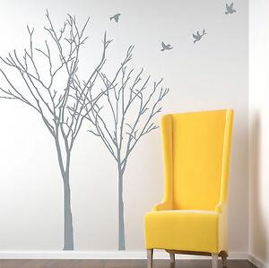 Image is loading Winter-Autumn-Tree-Birds-Vinyl-Wall-Art-Stickers-  sc 1 st  eBay & Winter Autumn Tree Birds Vinyl Wall Art Stickers Wall Decals Wall ...