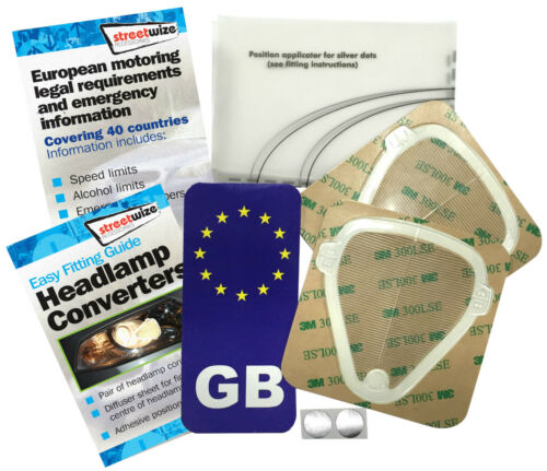 Euro Headlamp Light Beam Convertors /& GB sticker for Continental and UK Driving