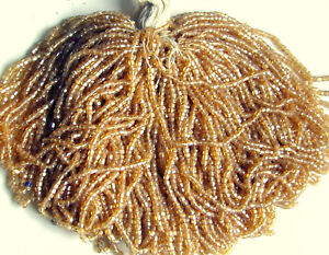 Mini Hanks Antique Glass Faceted RICH DEEP BROWN Seed Beads MASTER HANK = 9