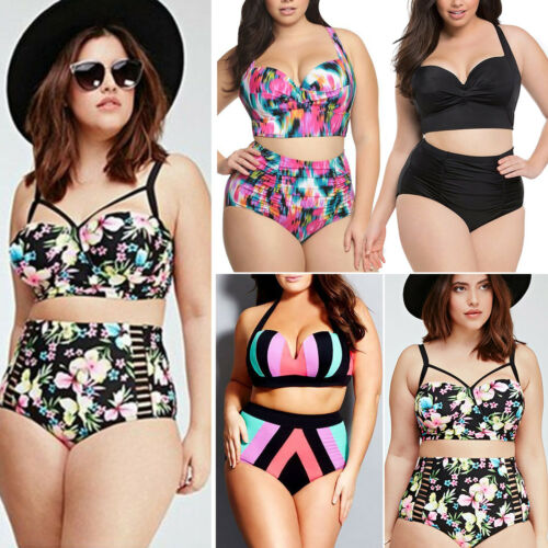 Womens Plus Size High Waist Swimsuit Push-up Padded Bikini Set Bathing Swimwear