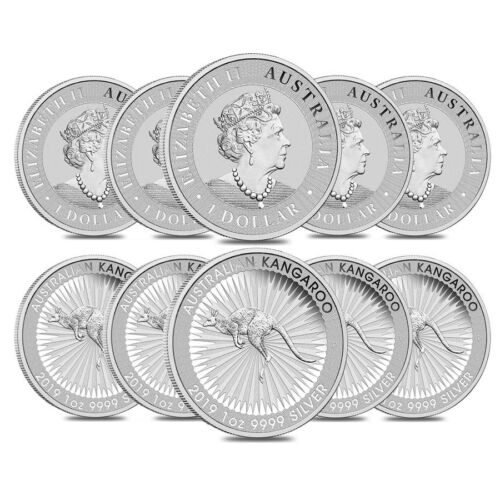 Lot of 10-2019 1 oz Australian Silver Kangaroo Perth Mint Coin .9999 Fine BU