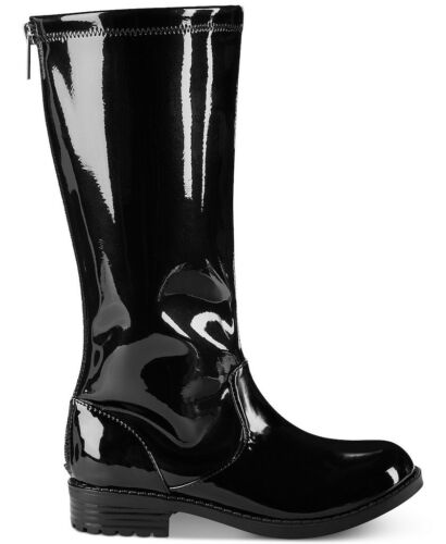 GIRLS//KID KENNETH COLE REACTION KNEE HIGH BOOTS PATENT BLACK FAUX LEATHER WINTER