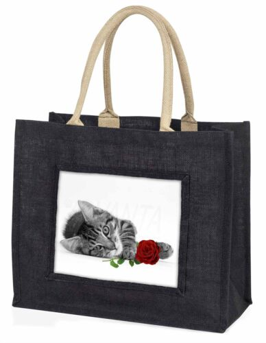 Cat with Red Rose Large Black Shopping Bag Christmas Present Idea , AC204R2BLB