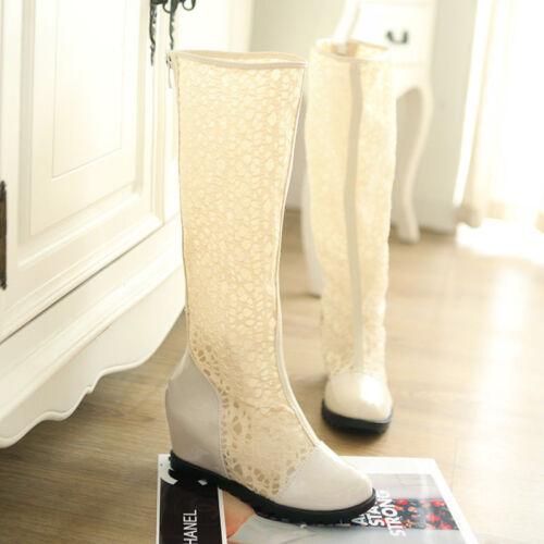 Femme Creux Dentelle Talon Compensé Genou Haut D/'été Bottes Sandales Gladiateur Chaussures m00