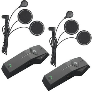 2x BT Motorcycle Bluetooth Intercom Helmet Interphone Headset 1000M+FM Radio+NFC