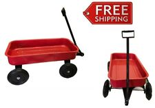 Red Metal Wagon 51cm Kids Classic Vintage Long Reach Handle Metal Ride Toy Gift