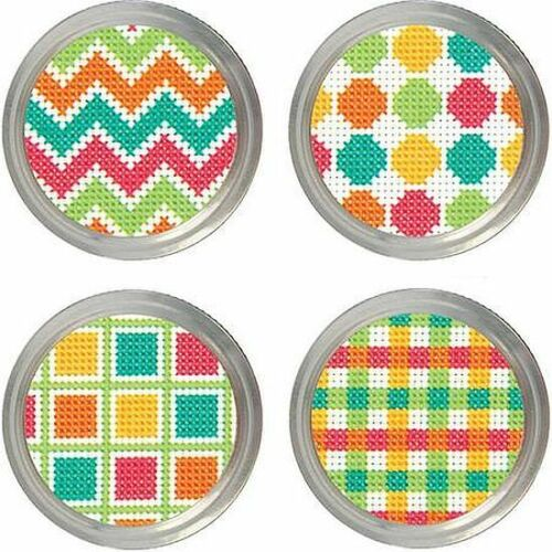 Dimensions Cross Stitch Kit for Canning or Mason Jars Set of 4 Toppers