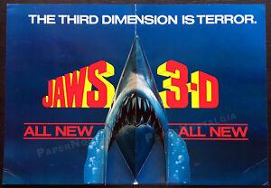 JAWS-3-D-Original-1983-Trade-Pop-up-3-D-film-promo-advertisement-Shark-Week