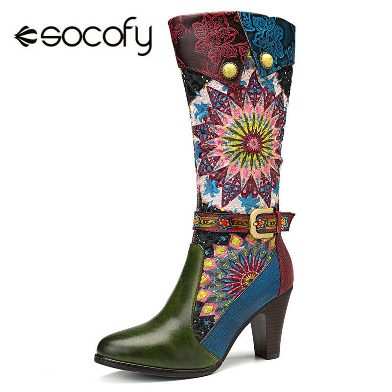 SOCOFY femmes Fireworks Handmade Genuine Leather Splicing Buckle High Knee bottes