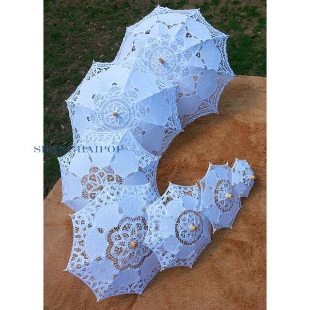 Women Girl Lace Sun Umbrella Parasol Brolly Dome Craft Bride Wedding Retro Prop