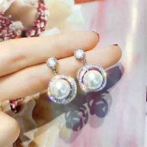 Gorgeous-925-Silver-Filled-White-Sapphire-Pearl-Drop-Stud-Earrings-Women-Jewelry