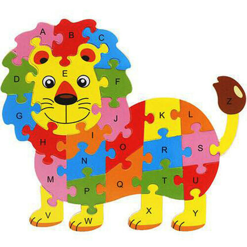 US Baby Kids Wooden Wood Animal Puzzle Numbers Alphabet Learning Educational Toy