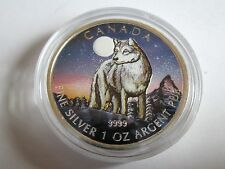 2011 1 oz Silver Coin - & Canadian Wildlife Night Wolf Edition UK NEW B.U scarce
