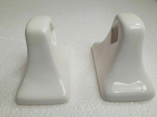 Bright White Arctic Ceramic Towel Bar Rod Rack Holders Flat Back Adhesive Mount