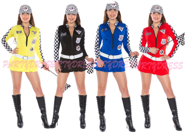 Ladies Costume Fancy Dress Up (837) Sexy Miss Indy Super Car Racing Grid Girl
