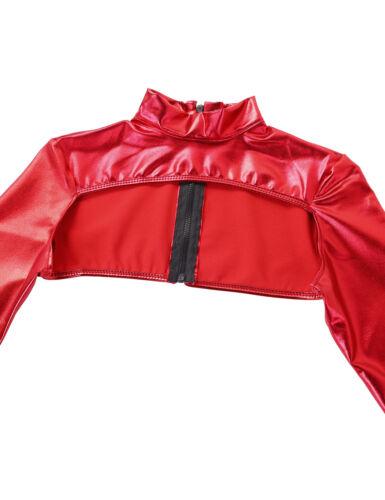 Shiny Metallic Women Long Sleeve Shrug Blouse Shirt Dance Crop Top Cardigan Coat
