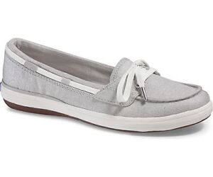 4eb7682bd68 Keds Womens Glimmer Lurex Silver Metallic Slip-On Boat Sneaker- Siz ...